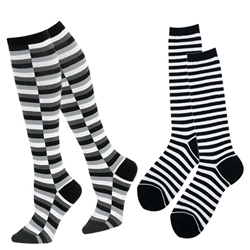 K. Bell Socks blakc and white stripe